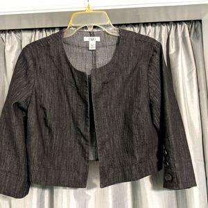 Black 3/4 length open front denim short jacket.